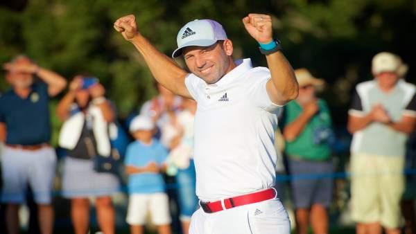 Sergio García celebra su victoria en Valderrama