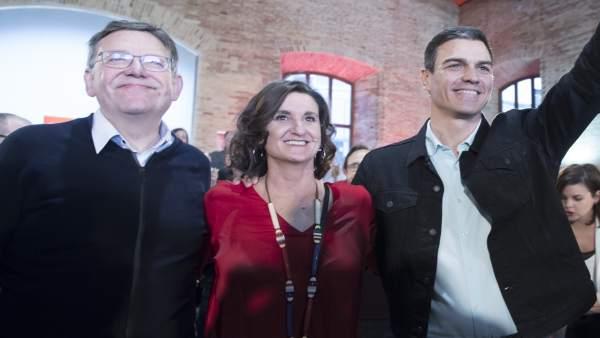 Ximo Puig, Mercedes Caballero y Pedro Sánchez