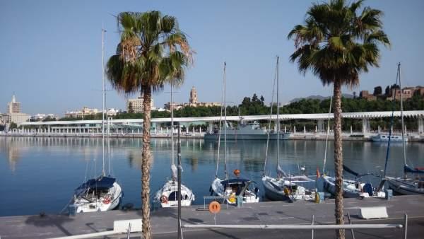 Atraque, muelle, barcos, náutico, turismo, turistas, palmeral, catedral, Málaga.