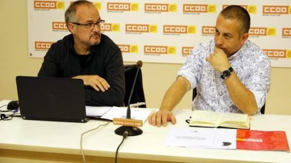 El director del CITE, Carles Bertran y el secretario de Política Trritorial de CCOO de Cataluña, Toni Mora.
