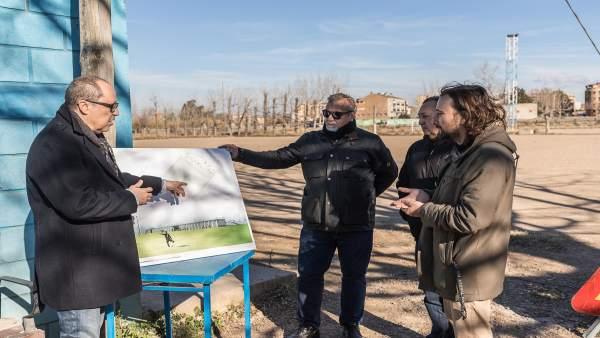 Híjar en el inicio de las obras del campo de fútbol de Casetas
