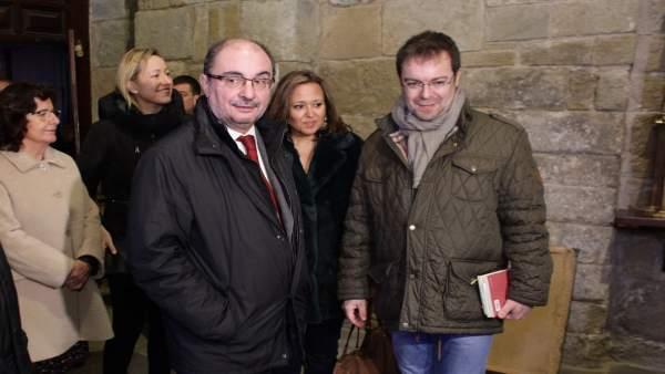Javier Lambán, en su visita a la Iglesia San Pedro el Viejo de Huesca