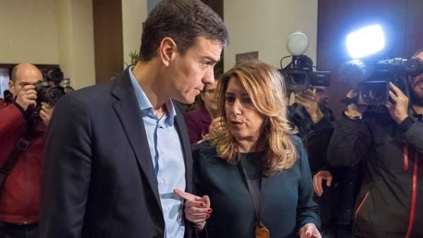 Pedro Sánchez, secretario general del PSOE, y Susana Díaz, presidenta de la Junta de Andalucía.
