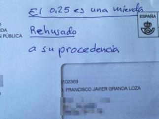 Carta devuelta a Hacienda.