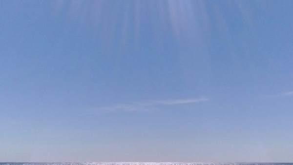 Playa, verano, poniente, sol