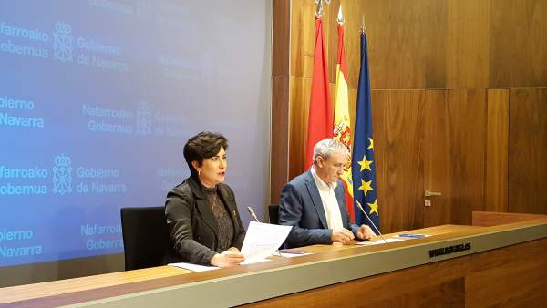 María Solana y Mikel Aranburu, consejeros del Gobierno de Navarra.