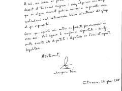 Carta de Joaquim Forn de renuncia como diputado de JxCat en el Parlament.