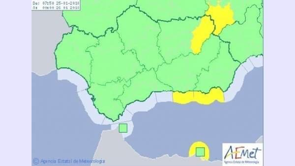 Mapa de avisos de Aemet para este jueves en Andalucía