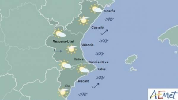 Cels amb intervals nuvolosos i baixades de temperatures en el terç nord de la Comunitat Valenciana aquest dijous