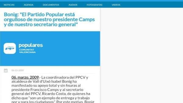 """El PPCV manté en el seu lloc web un comunicat de Bonig de 2009 en el qual mostra """"suport sense fissures"""" a Camps i Costa"""