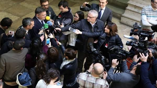 Ximo Puig y César Sánchez en el Palau de la Generalitat