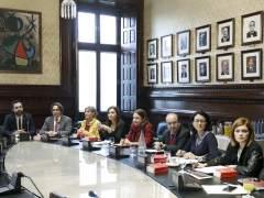 La reunión convocada esta mañana por el presidente del Parlament de Cataluña, Roger Torrent para abordar la sesión de investidura del nuevo presidente de la Generalitat.