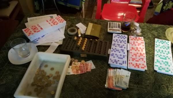 Material decomisado en bingo ilegal de San Roque