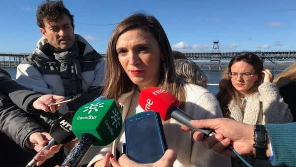 María Márquez, en declaraciones a los medios en Huelva.
