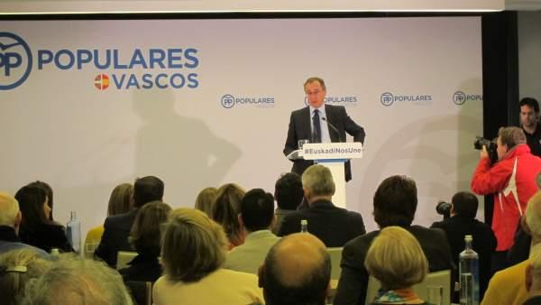 Alfonso Alonso, presidente del PP vasco, en una jornada en Bilbao