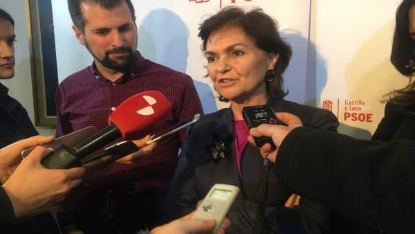 Burgos.- Luis Tudanca y Carmen Calvo atienden a los medios