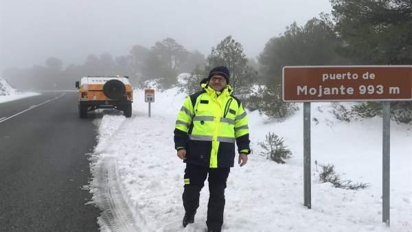 Nieve, carretera, temporal, frío