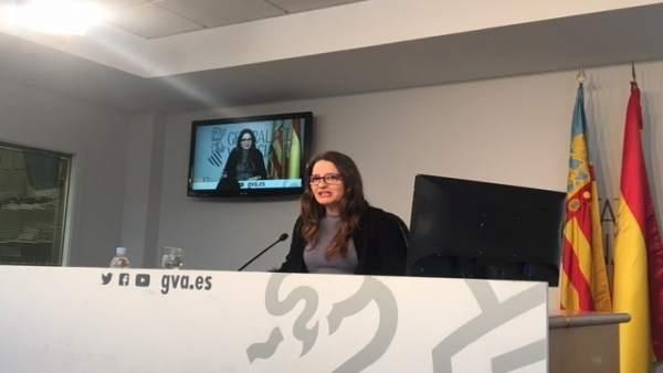 Oltra en la rueda de prensa posterior al pleno del Consell