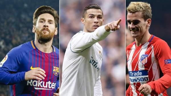 Messi, Cristiano y Griezmann