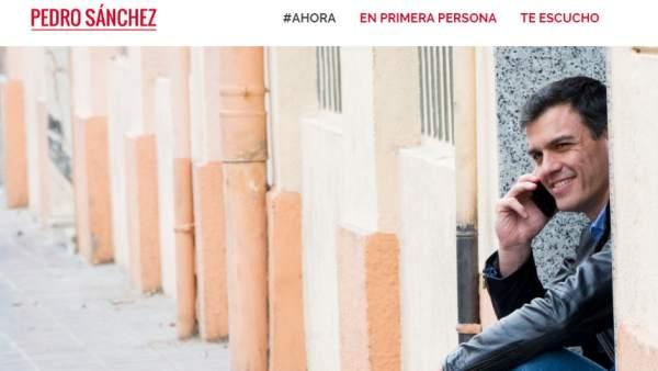 La nueva imagen de la web de Pedro Sánchez