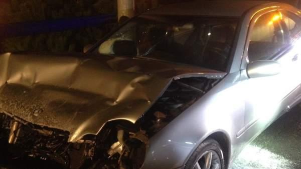 Imagen de uno de los coches accidentados