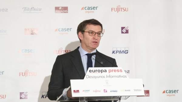 Alberto Núñez Feijóo en los Desayunos Informativos de Europa Press