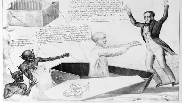 Lámina en la exposición sobre Frankenstein