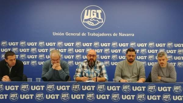 Representantes de UGT, CCOO y CCT del comité de empresa de KSS