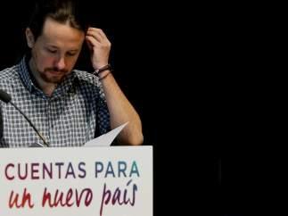 Pablo Iglesias, secretario general de Podemos, este lunes en la presentación de sus presupuestos alternativos.