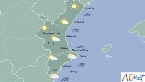 Núvols en la mitat sud i màximes de 17ºC aquest dimarts a la Comunitat Valenciana