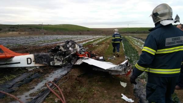 Accidente de avioneta en Villamartín (Cádiz)