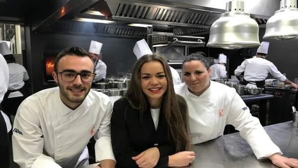Los tres ganadores andaluces de las Becas BBVA de Gastronomía.