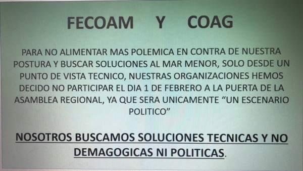 Imagen del cartel de Fecoam y COAG anunciando que se desmarcan