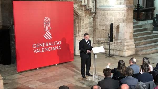 Puig en la presentación del rediseño de la imagen de la Generalitat