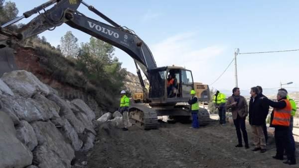 Obras del vial de acceso y circunvalación al castillo de Lorca