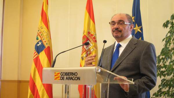 El presidente de Aragón, Javier Lambán, en un acto este lunes en el Pignatelli