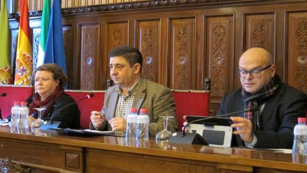 Pilar Parra (i), en el pleno ordinario celebrado en la Diputación de Jaén.