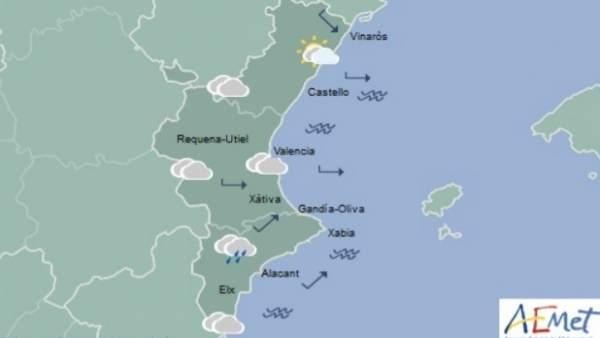 Pluges i temperatures a la baixa aquest dijous a la Comunitat Valenciana