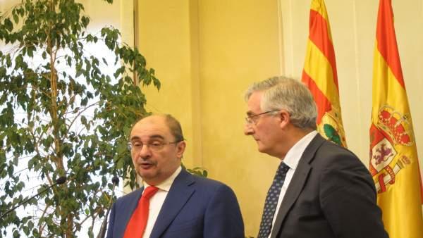 Lambán y Olona, en rueda de prensa este jueves en Zaragoza