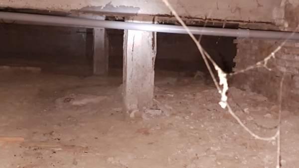 Pilares del edificio desalojado en Intelhorce