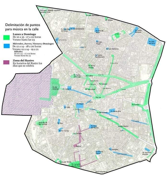 Mapa de las zonas donde podrán tocar los músicos callejeros en el distrito Centro
