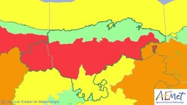 Mapa de avisos en Cantabria
