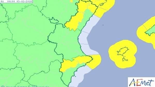 El cap de setmana comença amb avisos groc per vent, neu i fenòmens costaners a la Comunitat Valenciana