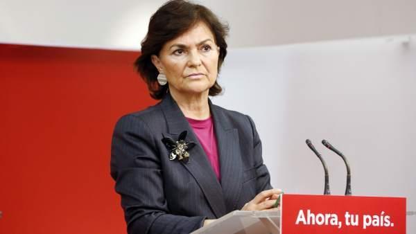 Carmen Calvo, secretaria de Igualdad del PSOE, en Ferraz.