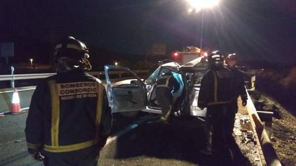 Accidente con un fallecido en la A-30, en Cieza (Murcia)