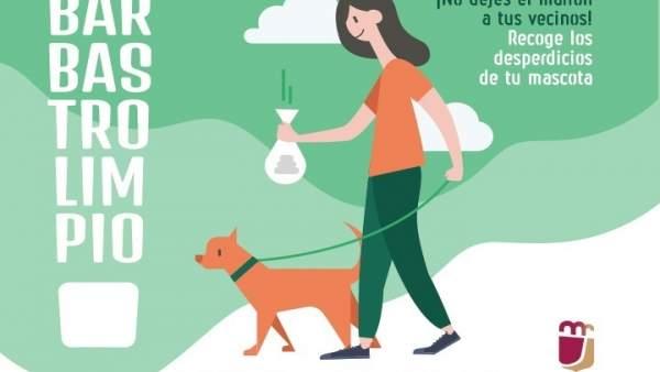 Uno de los carteles de la campaña 'Barbastro limpio'