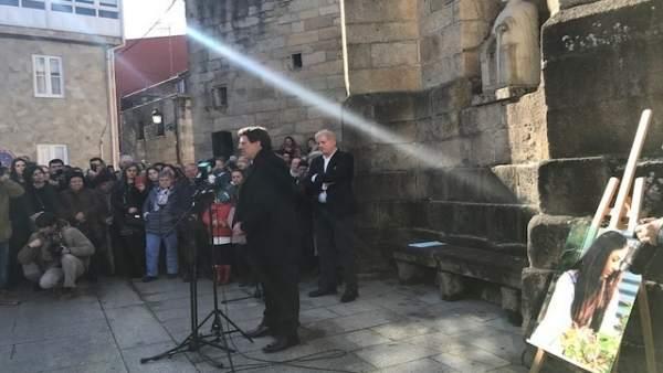 Juan Carlos Quer en el acto de homenaje a su hija Diana