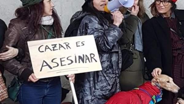 Protesta en A Coruña 'No a la caza con galgos y otras razas'