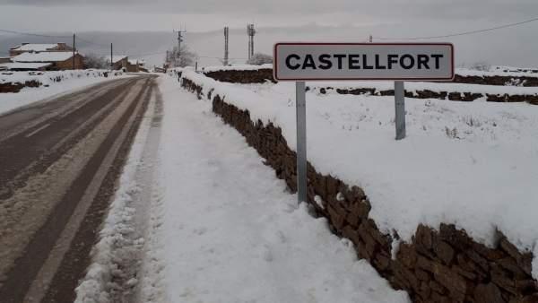 Nieve en el interior norte de Castellón