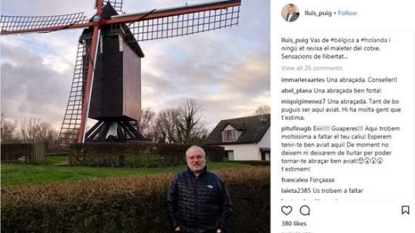 Imagen del Instagram del consejero destituido Lluís Puig delante de un molino de viento.